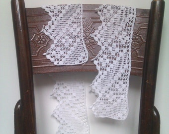 Crochet Trim, Vintage Crochet Trims, White Crochet Trims, Rustic Crochet Trims 2 pieces, Cottage, Shabby Chic