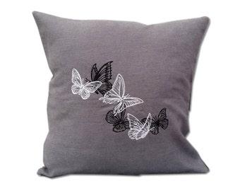 Light & Dark Butterflies Linen Cushion