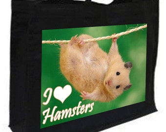 I Love Hamsters Cotton Shopping Bag with gusset and long handles, 3 colour options