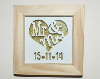 Personalised Hand Cut 'Mr & Mrs' framed papercut, wedding gift, first anniversary gift.