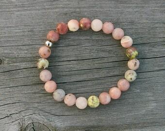 Rhodonite bracelet - pink stone bracelet, stretch bracelet, beaded bracelet, gemstone bracelet, rhodonite jewelry, chakra healing jewelry