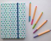 Pinwheel Fabric Covered Handmade Journal Notebook with elastic closure