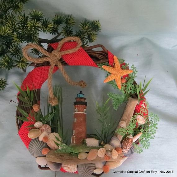 Items similar to red lighthouse wreath beach decor beach for Beachy decor items