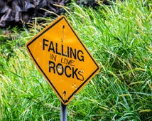 Falling in Love Rocks - Road Sign - Road to Hana Maui - Gallery Wrap Canvas or Print