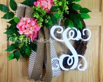 spring wreath - pink hydrangea wreath - monogram wreath - wreaths - mothers day - easter wreath - summer wreath