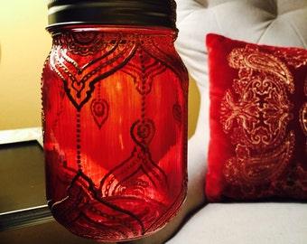 SAFIYYAH Henna Mason Jar Lantern with Gold Detailing