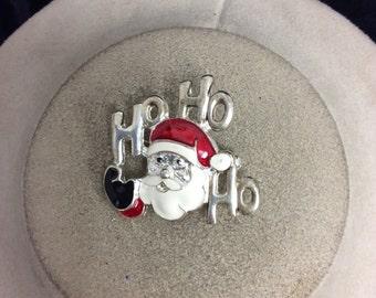 Vintage Enaneled Christmas Santa Claus Ho Ho Ho Pin