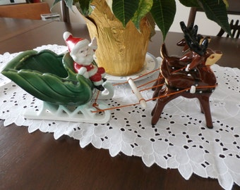 Vintage, Napco, Santa, Sleigh, Reindeer, Candy Dish