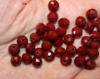 35 glass beads, solid color crystal glass abacus beads, faceted, opaque brown, 8 mm x 6 mm, hole 1 mm