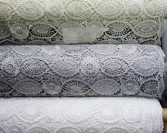 Guipure Lace fabric, Embroidery, Chemical Lace Fabric, 5 Colors