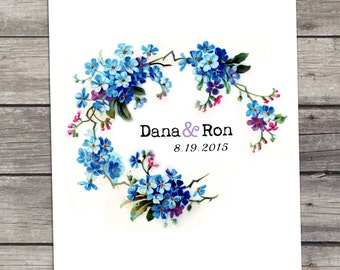 Bloom in Blue Wedding Invitation Printable DIY