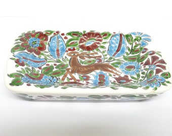 Dish, Ash Tray or Pin Tray, White, Red, Blue, Majolica, Deer, Foliage, Vintage, tableware, Rhodes