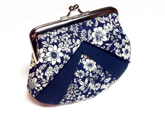 Navy floral print coin purse