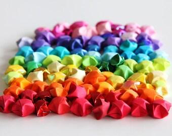 Rainbow of lucky stars - handfolded origami stars 100 pieces - handmade Japanese paper stars