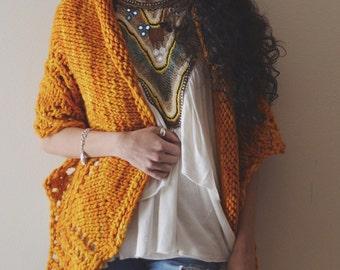 Arctic Blanket Wrap - knit chunky shawl, scarf. wrap orange