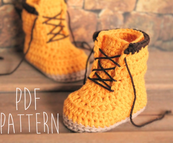 Free Crochet Pattern For Baby Construction Boots : Construction Boot PATTERN Crochet Baby Boys by Inventorium ...