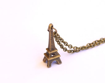 Eiffel Tower pendant / necklace,  brass chain pendant, brass jewellery / ornament
