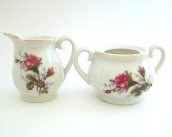 Cream & Sugar Set, Pink Rose Cream and Sugar, Floral Creamer, Floral Sugar Bowl, Small Cream and Sugar Vintage Cream and Sugar Set Pink Rose