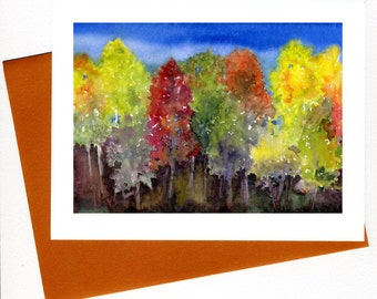 Fall Trees Print/ Card Watercolor Art Original