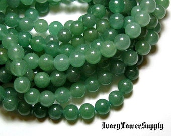 8mm Natural Green Aventurine Beads, Gemstone Beads, Semi Precious Beads, Green Beads, Round Beads