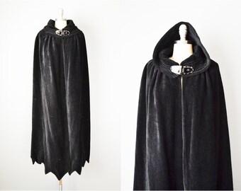 20s Cape // 1920s Black Wool Art Deco Cape