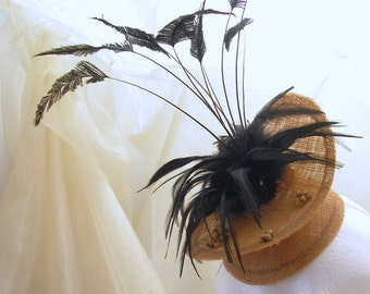 CLEARANCE End of Season sale.- biscuit and black headpiece pillbox style alternative wedding race meeting summer beach unique abstract