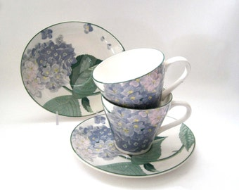 Gorgeous Larry Laslo Teacup Set Southampton Teacup and Saucer c. 1980s Sango Blue Hydrangeas, Designer Kitchen Ware, Gift Idea