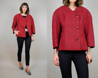 ON SALE 60's GALANOS houndstooth Wool Jacket