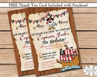 pirate birthday invitation, pirate birthday party invitation, pirate invite, handmade digital invitation - Digital File - DIY PRINTABLE