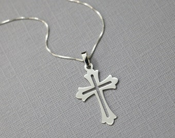 Sterling Silver Cross Necklace, Godmother Gift, Christening GIft, Baptism Gift, First Communion Gift, Cross Necklace, Gift for Mom