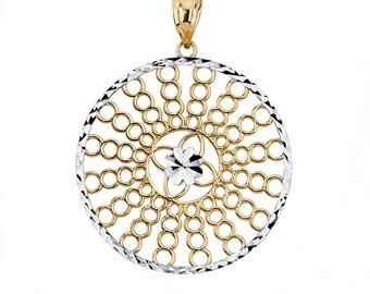 14K Two-Tone Fancy Circle Pendant, Fancy Pendant, Fancy Jewelry, Womens Jewelry, Circle Pendant, Fashion Jewelry