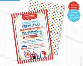 Circus is in Town Printable Invitation, Birthday Invitation, Kids Invitation, 1st Birthday Invitation