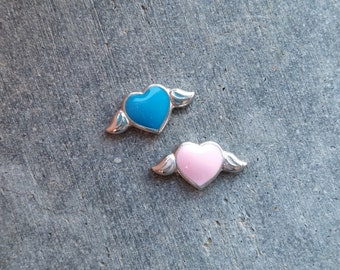 Angel Heart Floating Locket Charm- You Choose Pink or Blue