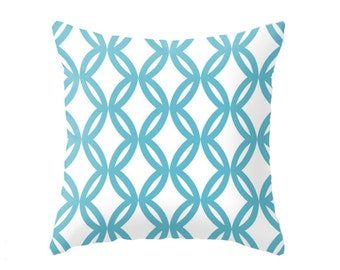 Aqua / Blue / Geometric Print  - Accent Pillow Cover - Throw Pillows - Decorative Pillows