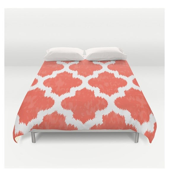 Coral Red u0026 White Floral Duvet Cover by CabinetPrettyThings