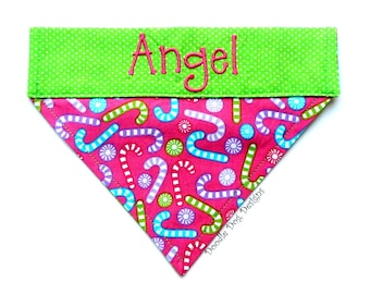 "Personalized Dog Bandana/ Holiday Dog Bandana/ Christmas Dog Bandana/ Over the Collar Dog Bandana/ ""Pink Candy Canes"""