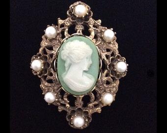 Vintage Ivory Cameo on Mint Green Filigree Brooch Pendant Combo