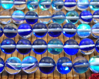 47 pcs of Synthetic Crystal smooth round beads in 8mm