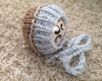 Newborn, 0-3, 3-6, 6-12 month and toddler size  knit two toned bonnet in alpaca