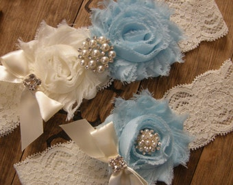 Something Blue Wedding Garters / Ivory / Light Blue / Vintage Inspired / Bridal Garter Set / Lace Garter / Bridal Garter Set