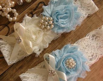 Something Blue / Garter / Wedding Garters / Lace Garter / Light Blue / Ivory / Bridal Garter / Toss Garter / Vintage Inspired
