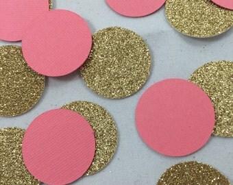 Coral and Gold Confetti
