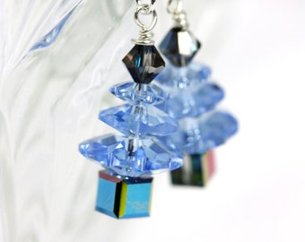 Swarovski Crystal Tree earrings with Blue Crystals, Blue Christmas Tree Earrings, Blue Trees, Sterling Silver Earrings .925