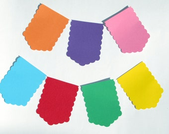 "Pennant DIY Banner Shapes/Flag Pennant die cuts/  scalloped edge pennant/ size from 1.5"" to 8"" tall/ chose your color"