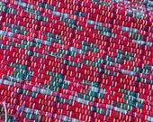 """Red and green rag rug 55"""" x 26"""" hand woven cherry red light and dark green repurposed fabrics throw rug fringes #11"""