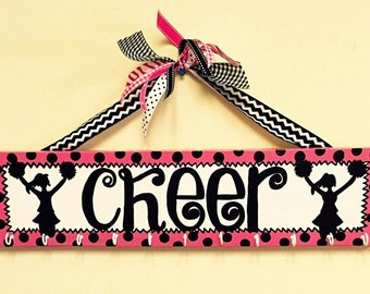 CHEER Medal or Hairbow Holder Plaque with Hooks