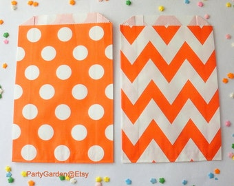 24 Orange Chevron or Polka Dot Party Favor Bags - Treat Candy Baking Gifts Cookies
