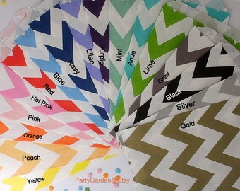 36 Chevron or Polka Dot Party Favor Bags -  Treat Candy Baking Gifts Cookies