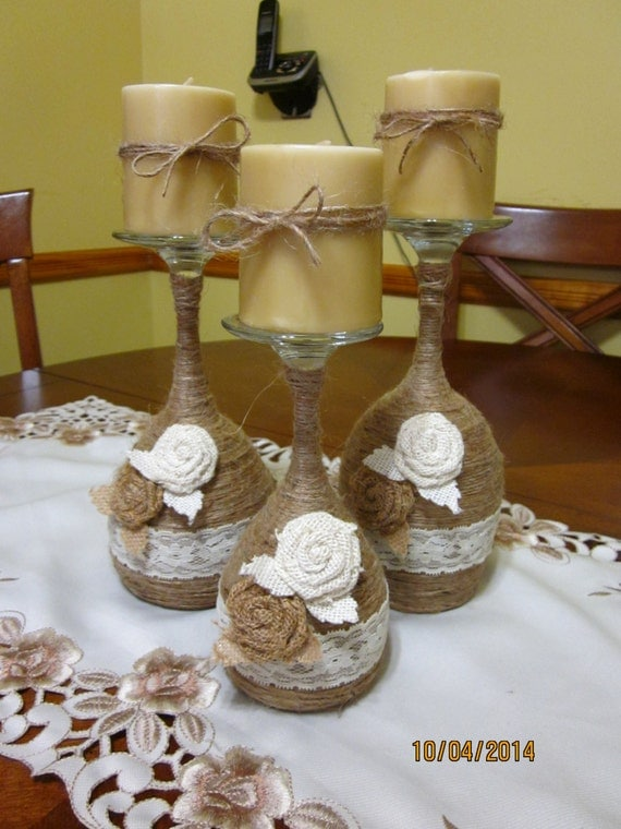 Wine glass candle holder twine wrapped wine glass candle for Beach wine glass candle holders