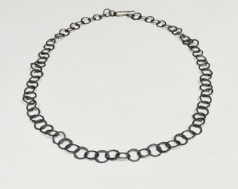 Oxidised Sterling Silver chain necklace